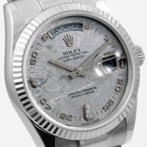 Rolex 18K White Gold Day Date Factory Meteorite w/ Diamonds...