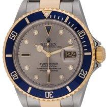 Rolex : Submariner Date 'Serti' :  16613 :  18k Gold...
