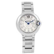 Cartier Ballon Blue Silver Diamond Dial Steel Ladies Watch...