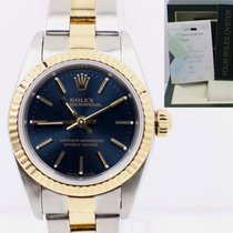 Rolex Ladies 76193 Oyster Perpetual Blue 18k Yellow Gold &...