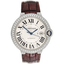 Cartier Ballon Bleu De Cartier 42mm Mens Silver Dial Diamond...