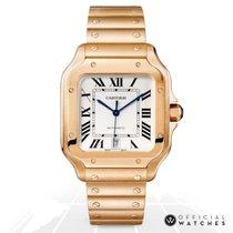 Cartier Santos (submodel) Жёлтое золото 35mm Белый Римские