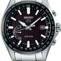 Seiko Astron GPS Solar Chronograph Steel 45.5mm Black No numerals