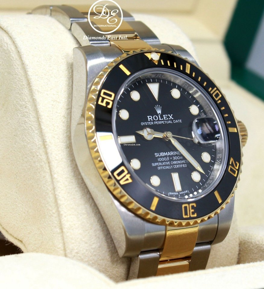 Rolex Submariner 116613 18k Yellow Gold Ss Black Ceramic Bezel B P