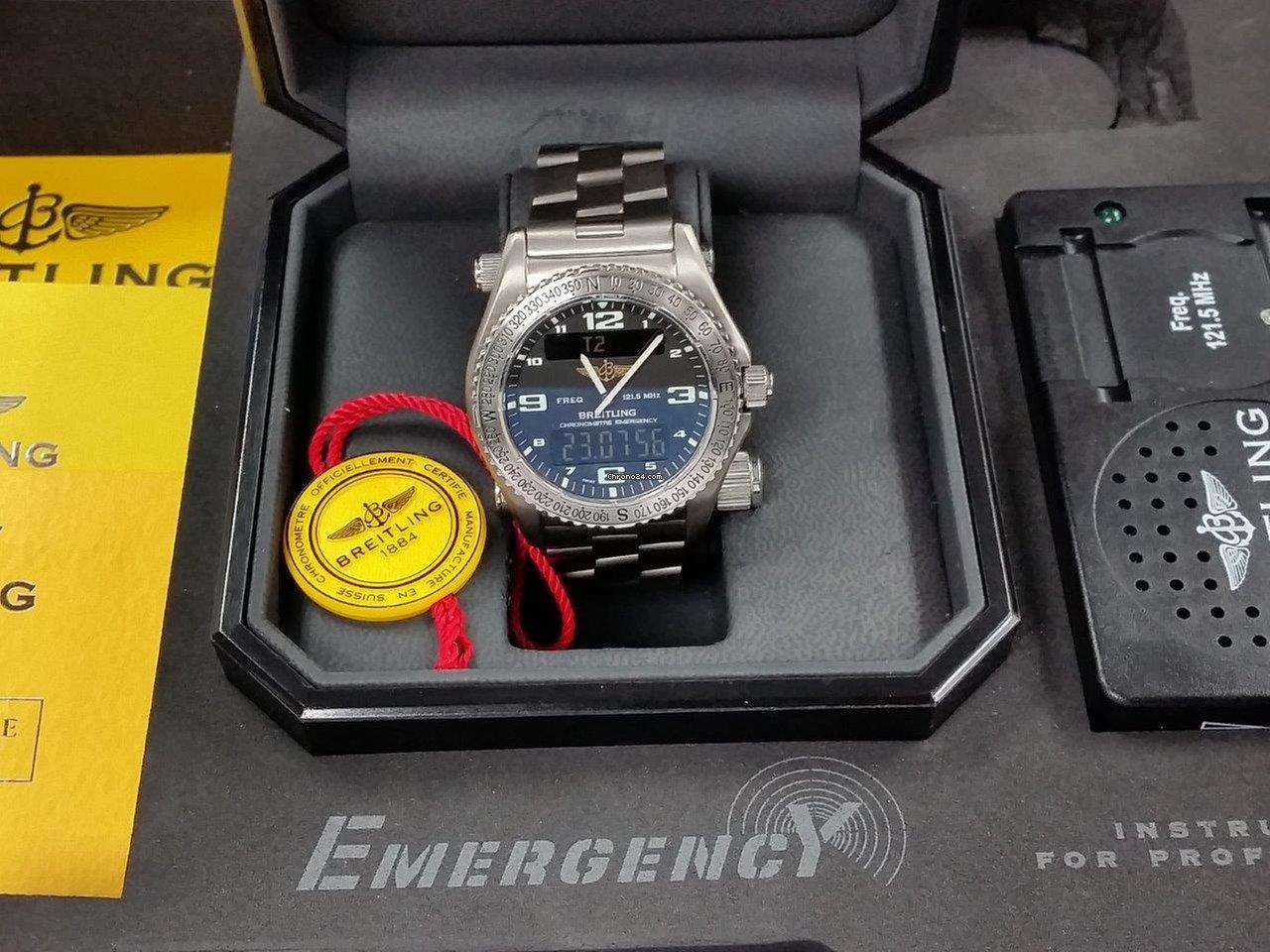 Breitling EMERGENCY Rescue Super-Watch Titanium Full Set Serv-Records