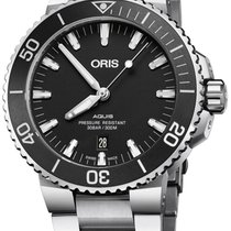 Oris Aquis Date Steel 43.5mm Black No numerals