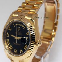Rolex Day-Date II 18k Yellow Gold Mens Black Roman Dial Watch...