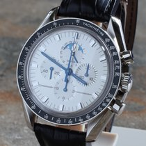 Omega White gold Manual winding pre-owned Speedmaster Professional Moonwatch Moonphase