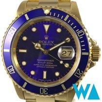 Rolex Gelbgold Automatik Blau Keine Ziffern 40mm gebraucht Submariner Date