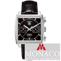 TAG Heuer Monaco Calibre 12 brukt 39mm Svart Kronograf Dato Krokodilleskinn