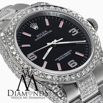Rolex Oyster Perpetual 36mm Black W/ Pink Dial Custom Diamond...