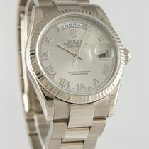 Rolex Day-Date 36 Or blanc 36mm Argent Romain