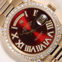 Rolex President Day Date 18k-Roman Diamond Red Dial-Diamond...