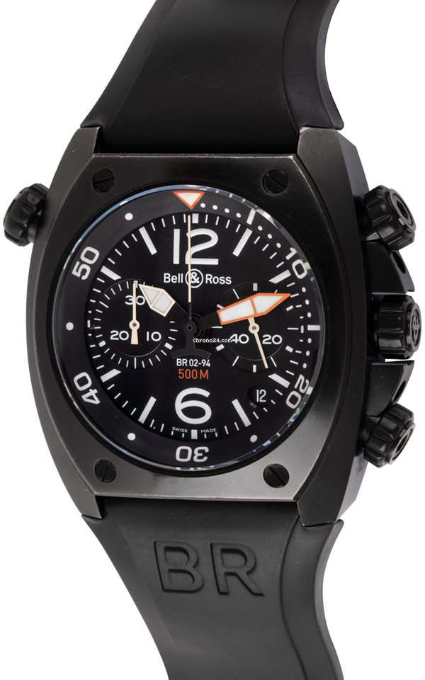 Bell And Ross Watches >> Bell Ross Br 02 94 Marine Chronograph Br02 94 S Black Black Carbon Coating On Steel