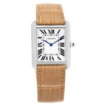 Cartier Tank Solo Steel Brown Strap Unisex Watch W1018355 Box...