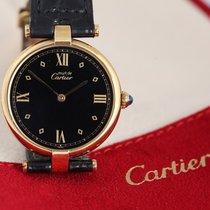 까르띠에 은 쿼츠 검정색 로마숫자 37mm 중고시계