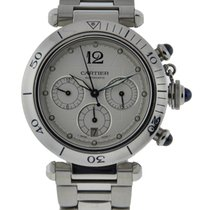 Cartier Pasha Chronograph Stainless Steel With Silver Dial On...