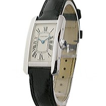 Cartier W2601956 Tank Amercaine -Small Size - White Gold on Strap