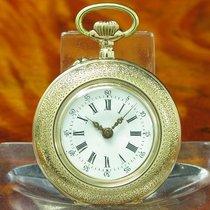 Kleine 14kt 585 Gold Open Face Taschenuhr / Edle Emaille...