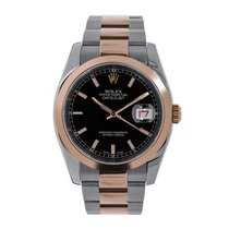 Rolex DATEJUST 36 Steel & Rose Gold Black Index Dial Watch 116201