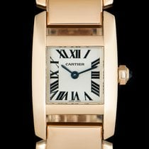 Cartier Rose gold Quartz White Roman numerals 20mm pre-owned Tank (submodel)