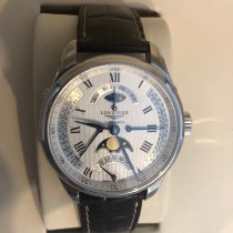 Longines Master Collection pre-owned 44mm Silver Moon phase Date Weekday Crocodile skin