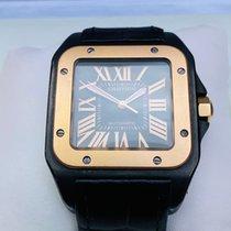 Cartier Santos 100 Złoto/Stal Czarny Rzymskie