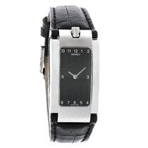 Movado Elliptica Ladies Black Leather Stainless Steel Watch...