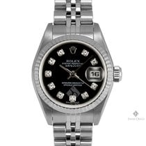 Rolex Datejust Stainless Steel Factory Black Diamond Dial...