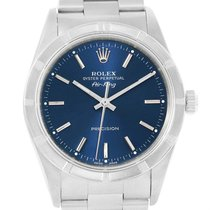 Rolex Air King Steel Blue Baton Dial Oyster Bracelet Mens...