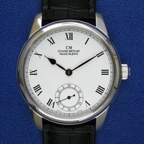 Claude Meylan Steel Manual winding White Roman numerals 42mm new