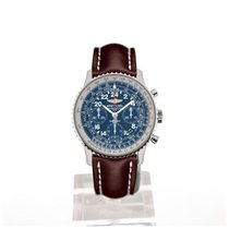 Breitling Navitimer Cosmonaute 43 Blue Dial Brown Leather...