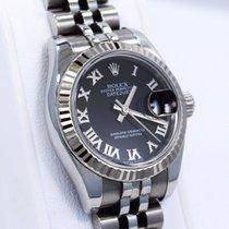 Rolex Datejust 179174 18k White Gold Bezel Jubilee Black Dial...