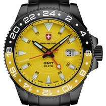 Swiss Military new Quartz Center Seconds Luminescent Hands Screw-Down Crown PVD/DLC coating 42mm Steel Sapphire crystal
