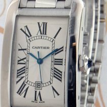 Cartier Tank Américaine pre-owned 26.6mm Silver Date White gold