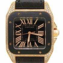 Cartier Rose gold Automatic Black Roman numerals 38mm pre-owned Santos 100