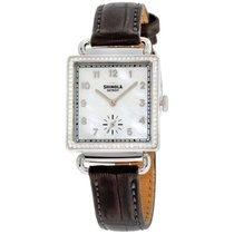 Shinola The Cass Mother Of Pearl Dial Leather Strap Ladies...