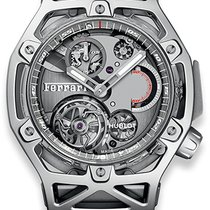 Hublot Techframe Ferrari Tourbillon Chronograph Oro blanco Gris
