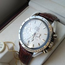Omega White gold Automatic Silver 42mm pre-owned Speedmaster Broad Arrow