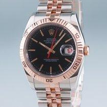 Rolex Datejust Turn-O-Graph Zlato/Zeljezo 37mm Crn