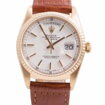 Rolex Mens 18K Gold 18238 Day-Date President - White Stick...