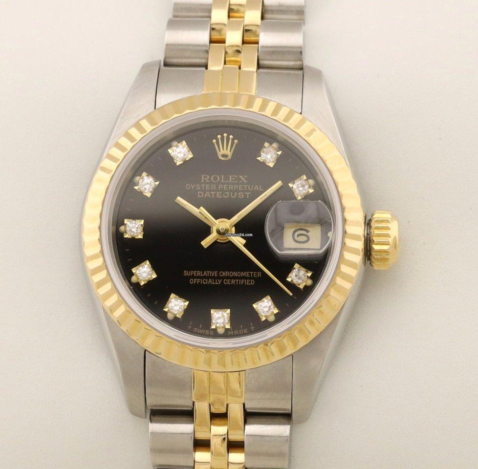 Rolex Lady Date Datejust Edelstahl Gold Gelbgold Automatic black