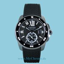 Cartier Calibre de Cartier Diver Staal 42mm Zwart Romeins