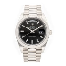 Rolex Day-Date 40 White gold 40mm Black No numerals United States of America, Pennsylvania, Bala Cynwyd