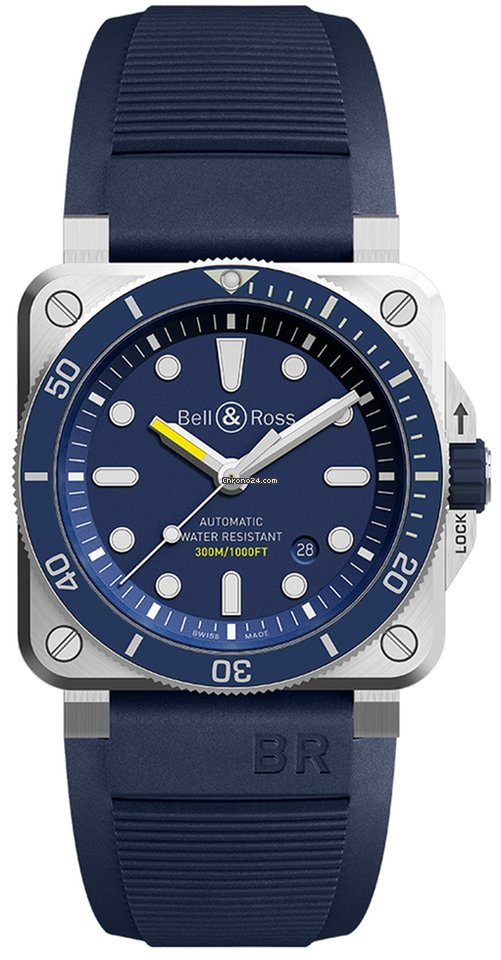Bell And Ross Watches >> Bell Ross Br03 92 Automatic 42mm Br0392 D Bu St Srb Diver