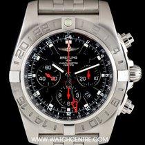 Breitling S/S Black Dial Chronomat GMT Ltd Ed B&P ...