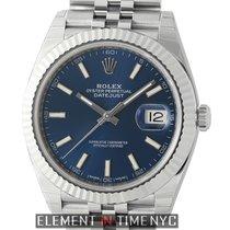 Rolex Datejust II Steel 41mm 18k White Gold Bezel Blue Roman...