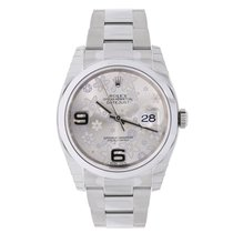 Rolex DATEJUST 36mm Stainless Steel Silver Floral