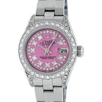 Rolex Ladies Datejust SS & 18K White Gold Pink Diamond Watch