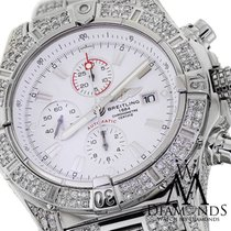 Breitling Super Avenger White A13370 Covered Over 12ct Diamond...